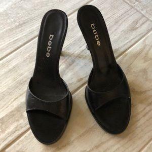 Black Leather Bebe Slides